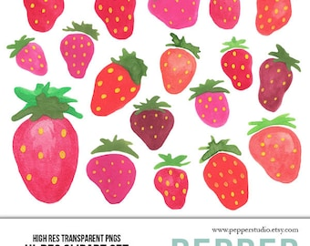INSTANT DOWNLOAD - Strawberries Watercolor Clipart Set - Hi Res Strawberry Fruit Doodle Illustrations for Scrapbooking, Transparent PNGs