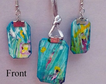 AN. Acrylic Skin matching necklace and earring set. Gift for girls. Wearable art. Abstract jewelry. Free Shipping.