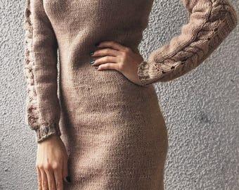 Knitting dress, wool dress