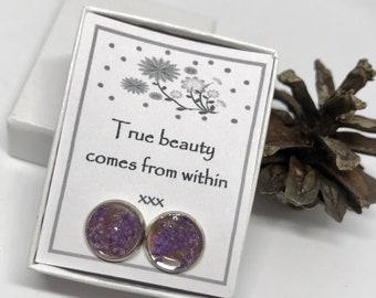 True beauty comes from within  - beautiful dried flower stud earrings
