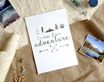 Live for Adventure Pewter / Silver Foil A4 Print | Nursery Prints, Wanderlust Poster, Explorer, Mountain Decor, Inspirational Quotes