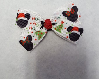Christmas hairbow, Holiday hairbow, girls mickey mouse bow, mickey Christmas bow, Winter hairbows, Girls Christmas hairbow, Ho ho ho bow
