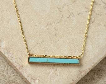 Bar Necklace Turquoise Bar Necklace Jewelry Necklace Pendant Necklace Jewelry Gift For Her Under 30 Gift Jewelry Limonbijoux