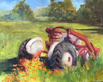 Tractor with Poppies