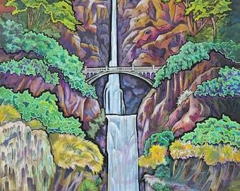ORIGINAL Art: Multnomah Falls Spring Painting Wall Art of Multnomah Falls of Columbia Gorge of Pacific Northwest NW in Historic Oregon Water