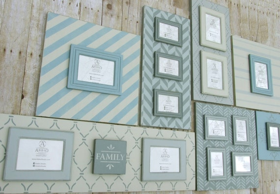 Coastal Collection: 7 piece wood picture frame wall grouping.