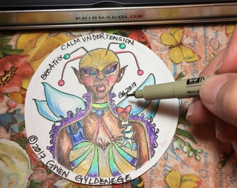 """Full Color Spirit Guide Drawing (2.5"""" x 3.5"""") Channeled Sketch with Reading by Gwen Gyldenege"""