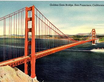 Golden Gate Bridge San Francisco California Vintage Postcard (unused)