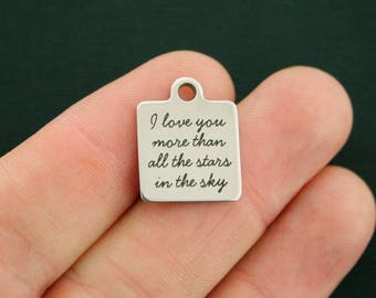 I love you Stainless Steel Charm - More than all the stars in the sky - Exclusive Line - Quantity Options - BFS1966