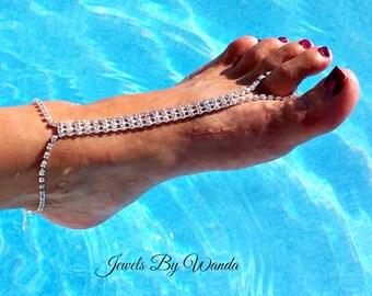 Elegant Silver Rhinestone Barefoot Sandals