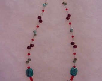 "red and aqua blue necklace tigertail necklace beaded necklace red necklace aqua glass bead necklace light blue ""crystal"" bead necklace"