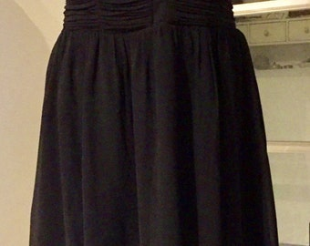 Black strapless dress, dress, skater, dress Eve cocktail party, ceremony, chiffon, strapless draped with whales, size 42 L