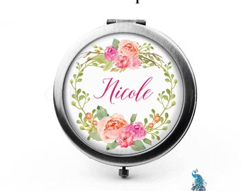 Personalized Compact Mirror Floral Wreath The Nicole Bridesmaid Gifts Pocket Mirror Cosmetic Mirror Gifts Mom Sisters Friends Birthdays