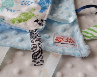 Birds and Trees in Blue Blankie with ribbons