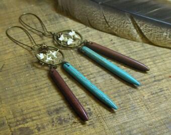 Dreamcatcher. Turquoise Howlite, Cinnamon Jasper & Rattlesnake Bone Southwestern boho ooak handmade rustic earrings.