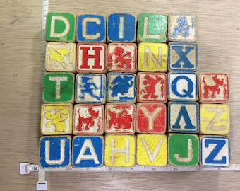 Vintage Lot Of Twenty Eight Wooden Toy Blocks Used