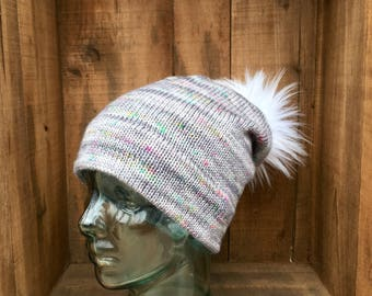 Speckled Gray Double Brim Wool Slouchy Hat