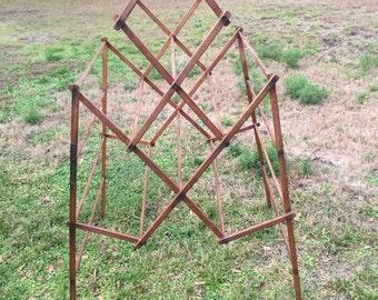 Antique Oak Wood Cloths Drying Rack,  Antique Primitive