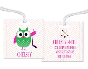 Owl luggage tag etsy hockey tag owl boy tag personalized bag tag luggage tag girl owl tag bag tag baby tag sports bag tag baby gift ryelle hockey negle Image collections