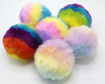 1pcs x 8CM Rainbow Faux Fur Pompom/ Phone Tag/ Keychain Charm TZ2265