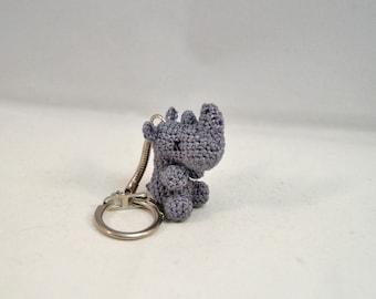 Rhino Keychain, Keyring, Bag Charm - Crocheted - size Micro