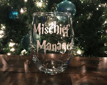 Mischief Managed - Harry Potter Inspired Stemless Wine Glass