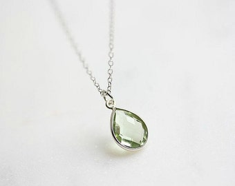 Green Amethyst Necklace in Sterling Silver - February Birthstone Jewelry - Sterling Silver Gemstone necklace - Gift for her