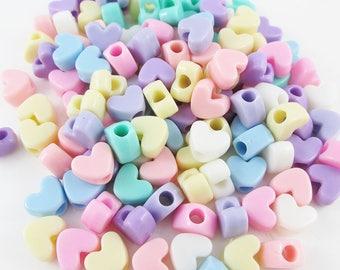 50g 100+pcs Acrylic Jelly Heart Craft Beads 9x12x7mm Hole 4mm Mixed Pastel