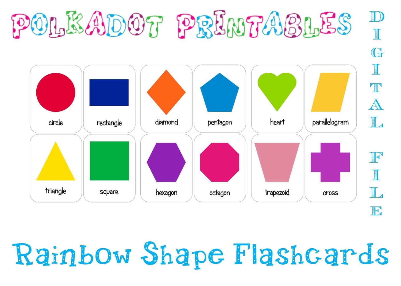 Printable Shape Flashcards Set of 12 Instant Download