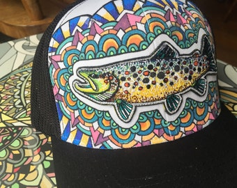 Embroidered Brown Trout Patch Flex Fit Trucker Hat with Drawn Background