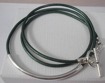 Metallic Green leather bracelet, tube  bracelet, wrap bracelet,