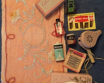 1950s Bathroom Essentials Lot - Original Products, Bathmat, Hairdryer & More