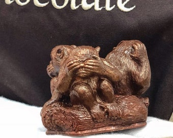 Three wise monkeys chocolate Figures Monkey Symbol Animals Japanese gift I do not see I do not hear I will not say Buddhist gift Feng Shui