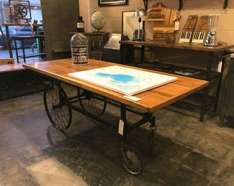 1910's Industrial Desk Console Table - cast iron and reclaimed wood