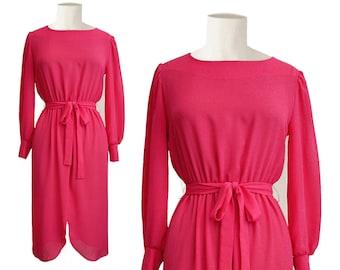 80s hot pink petal slit dress - vintage pearl buttons sheer dress - 1980s belted secretary dress