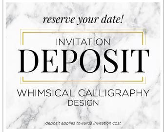 "Romantic Calligraphy Wedding Invitations, Dramatic Invitations, Sparkly Invitations, Calligraphy Invite - ""Whimsical Calligraphy"" DEPOSIT"