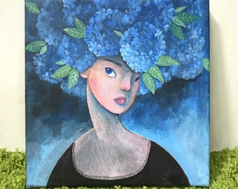 Original Painting | Girl with Hydrangea