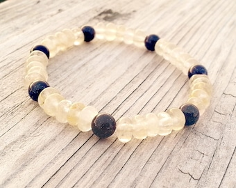 Luna Nueva Rutilated Quartz and Blue Sandstone Stretch Bracelet
