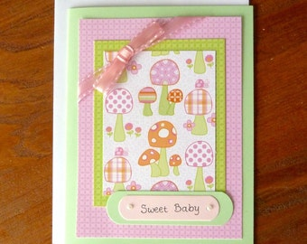New Baby Card, Handmade New Baby Girl Card, Welcome Baby Card with Toadstools, Pink Card, Paper Handmade Greeting Card, Congratulations Baby