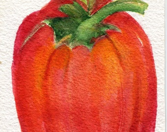 Red Bell Pepper watercolor painting original  4 x 6 red vegetable original ART, Farmhouse kitchen decor, culinary art, original painting