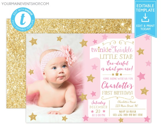 Twinkle Twinkle Little Star Birthday Invitation, Pink and Gold First Birthday Twinkle Twinkle Invite With Photo, 1st Birthday Templett