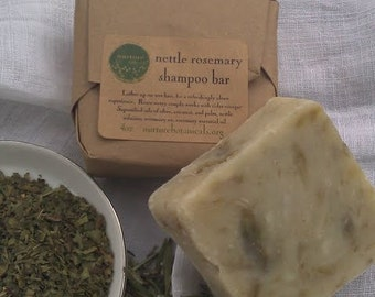 Shampoo Bar, Organic Nettle and Rosemary, Bar Shampoo, Handcrafted with Essential Oils