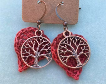 Crocheted Leaf with Tree of Life Charm Earrings/ Burnt Orange Earrings/ Jewelry