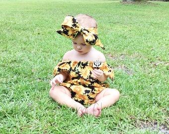 Sunflower Romper,Baby Romper,Sunflower,Girls Romper,Baby Girl Romper,Baby Girl Romper Set, Baby Gift,Girls Clothes,Sunflowers,Baby Girl