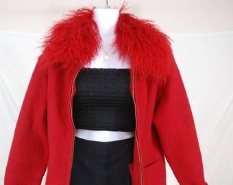 90s Bright Red Faux Fur Trim Jacket | VTG 90s Red Short Coat