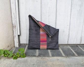 Large Pouch, Foldover Clutch, Zipper Bag, Handbag, Purse, Jean Bag, Vegan Purse, Guatemalan Fabric, Gift Ideas, Women's Gift