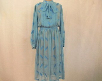 Vintage ~ 80s ~ Sheer Blue Dress ~ Kitten Bow ~ Front Pleats ~ Long Sleeves ~ Elastic Waist ~ Back Zipper