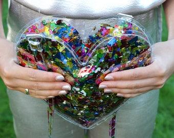 Gold Confetti Heart Handbag