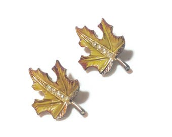 Vintage Leaf and Rhinestone Scatter/Dress Pins