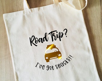 Tote Bag, Road Trip with Snacks, Snackage, Humour, Reusable Cotton Canvas shopping shopper bag, travel, gift